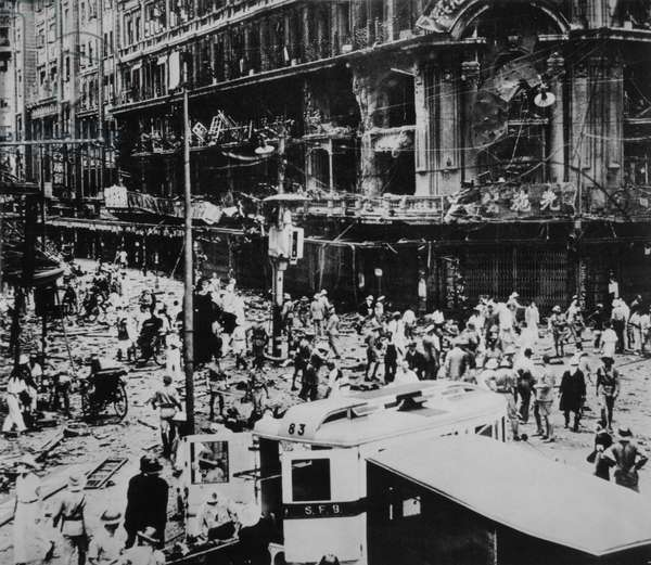 Crowd Standing in Street after Japanese Bombing of Shanghai, China during Second Sino-Japanese War, circa 1937