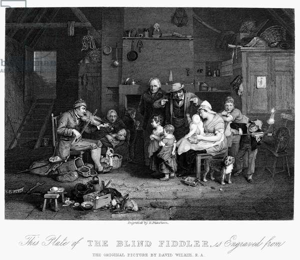 BLIND FIDDLER Steel engraving, English, c.1840, after the painting, 1806, by Sir David Wilkie.