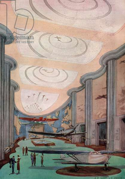World Fair, Paris, 1937: interior of Aeronautics pavilion (Art Deco), hall of civil and military aviations, illustration by D. Le Faghays and D. Gervaise