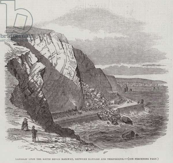 Landslip upon the South Devon Railway, between Dawlish and Teignmouth (engraving)