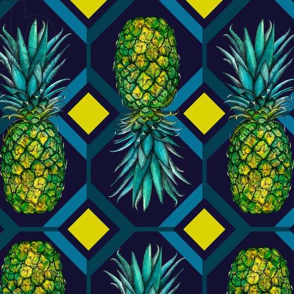 Pineapple geometric tile, 2018, (pen, watercolour, digital)