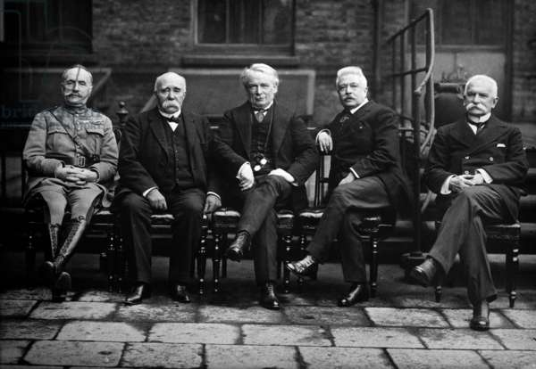 Versailles Peace Conference, Paris July 1919; from left: Foch; Clemenceau; Lloyd George; Orlando; Sonnino, 1919 (b/w photo)