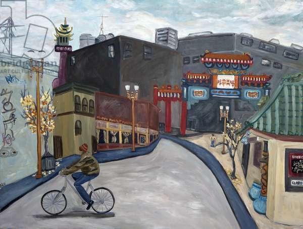 Chinatown Portland, 2018, (acrylic on canvas)