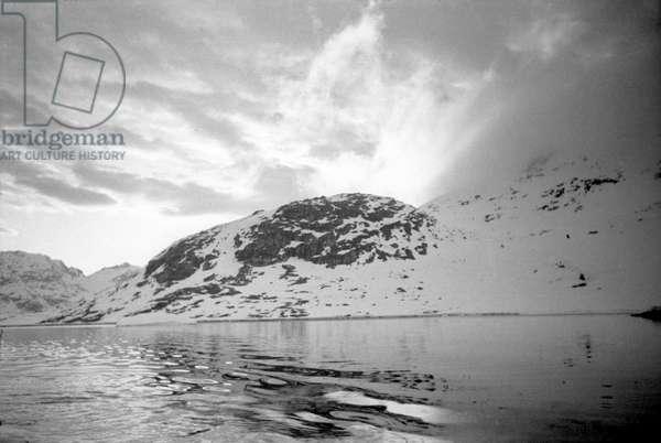 Fjord of Kangerdlugssuatsiak, Greenland, 1936 -1937 (b/w photo)