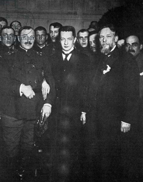 The Provisional Government headed by Alexander Kerensky (center), 8th July, 1917 (b/w photo)