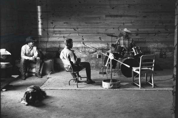 Cowboy fun JA ranch, after a long day, USA (b/w photo)