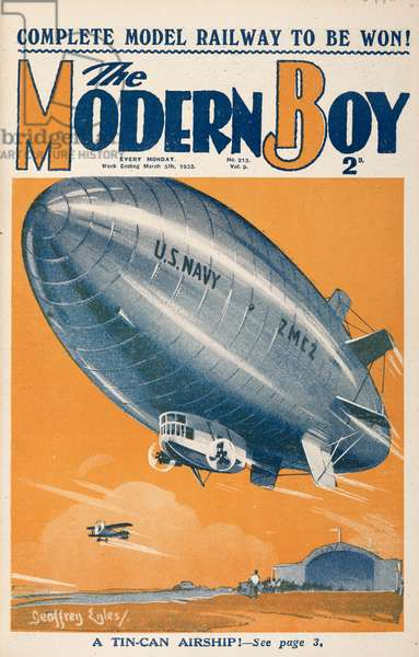 'A tin-can airship.' An  An airship or dirigible balloon, of the US navy.