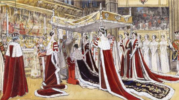 The Crowning of H.M. Queen Elizabeth, 1937 (charcoal, coloured chalk and watercolour on beige paper)