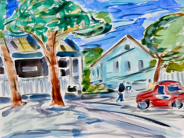 A Small Town, 2020, (watercolor on paper)