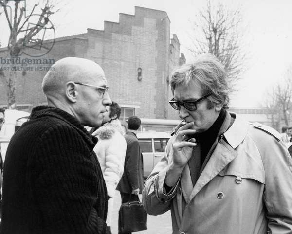 Michel Foucault and Maurice Clavel, at a demonstration against the murder of Pierre Overney, 28th Febuary 1972 (b/w photo)