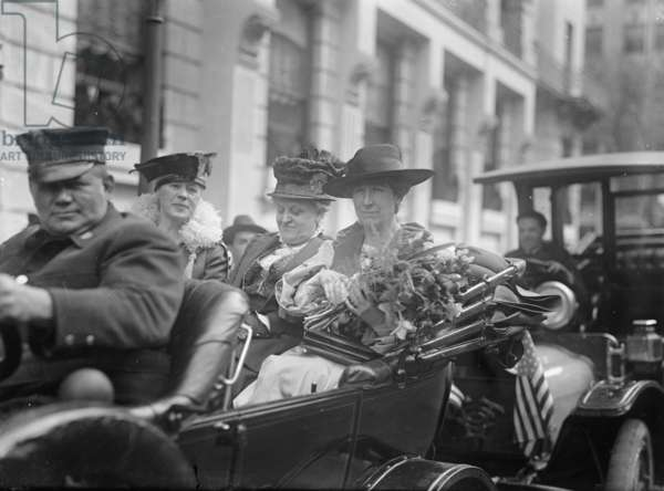 Jeanette Rankin arriving to be sworn into Congress, 1917 (b/w photo)