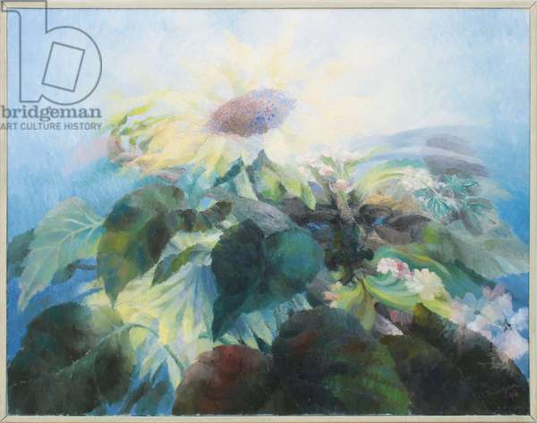 The Green Man with Sunflowers (Nocturne), 1994 (oil on canvas)