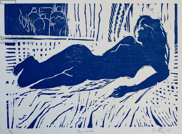 Blue nude(woodcut)
