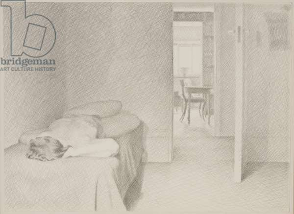 Interior with a Naked Woman (pencil on paper)
