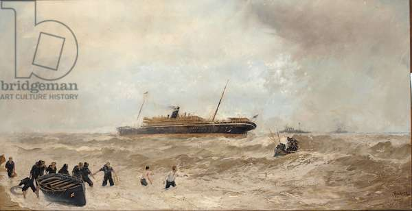 Wreck of the Delhi off Cape Spartel, 13th January 1911, landing of the Princess Royal, 1912 (oil on canvas)