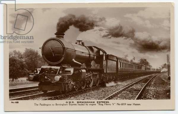 The Paddington Express hauled by train engine 'King Henry V', 1940s (b/w photo)