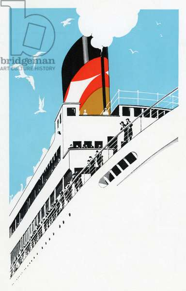 Art Deco 1920s Illustration of a Cruise Ship with Passengers, 1928 (silkscreen)