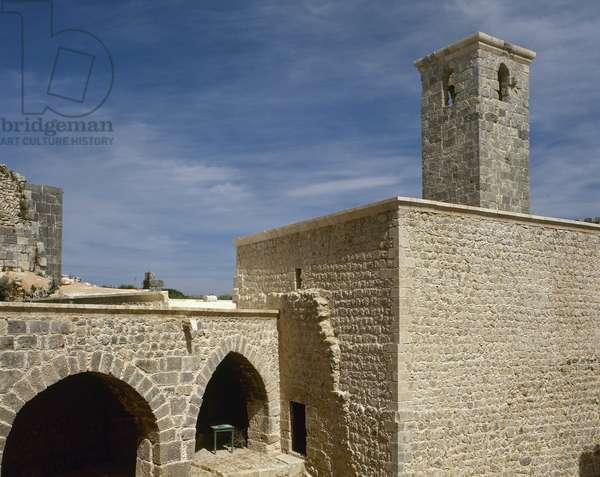 Syria. Citadel of Salah Ed-Din or Saladin Castle. Near Al-Haffah. Mosque in the inner citadel. Near Al-Haffah. Near East.