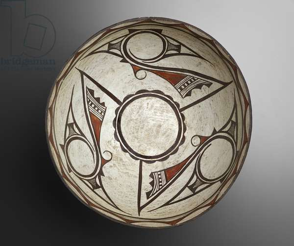 Dough Bowl with Geometric Designs, 1880-1890 (earthenware with slip)