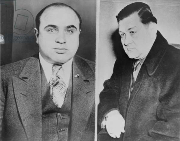 Al Capone (left) and his rival, George 'Bugs' Moran, Polish-Irish the boss of the North Side Gang. Capone killed 6 members of Moran's gang at the St. Valentine's Day Massacre. c. 1930
