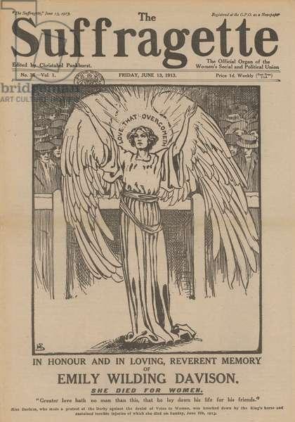 Memorial tribute to Emily Wilding Davison, English suffragette (engraving)