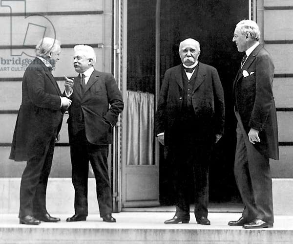 France: The 'Big Four' at the Paris Peace Conference - left to right, David Lloyd George of Britain, Vittorio Emanuele Orlando of Italy, Georges Clemenceau of France, Woodrow Wilson of the USA, Paris, 27 May 1919