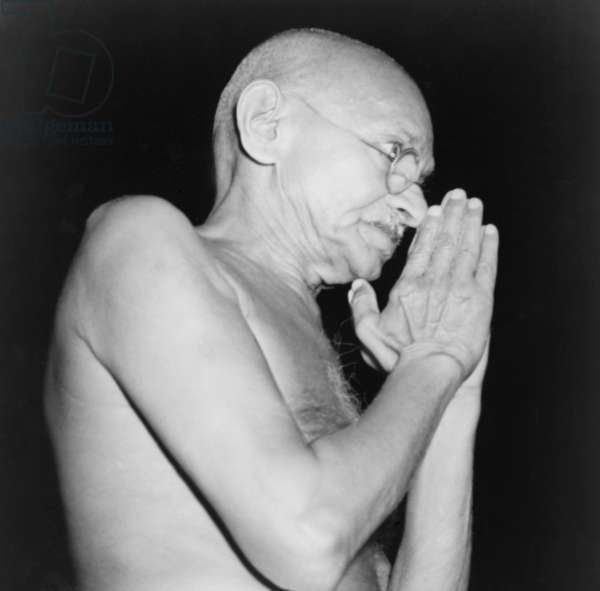 Mahatma Gandhi (1869-1948) in 1946, the year of violence between Moslems and Hindus, that ultimately forced Gandhi to accept the partition of subcontinent into Pakistan and India
