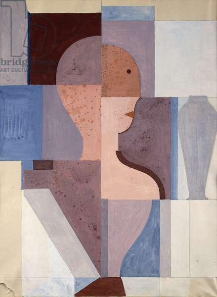 Split Half Figure to the Right, 1923 (gouache & pencil on paper)
