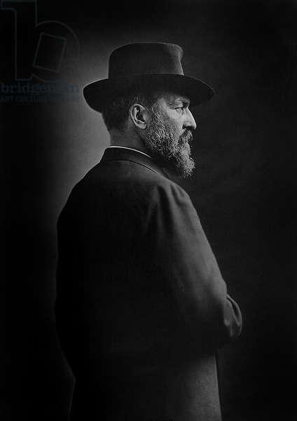 James A. Garfield (1831-81), 20th President of the United States, Half-Length Portrait, N.Y., 1870 (b/w photo)