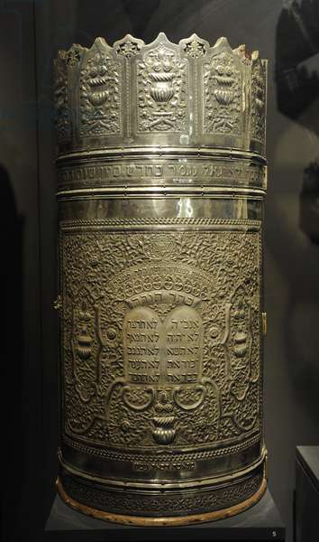 Cylindrical Torah scroll case, Tripoli, Libya, 1935 (wood and silver)