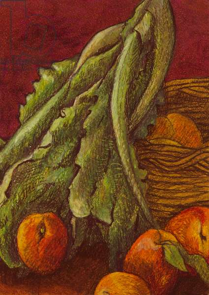 Still life with lettuce, 2011 (oil pastel on paper)