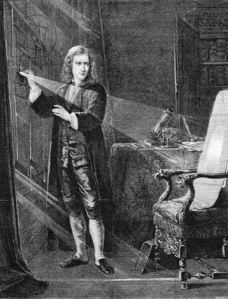 Isaac Newton (1642-1727) English scientist and mathematician. 'Newton Investigating Light'. Engraving after picture by J A Houston published c1879.