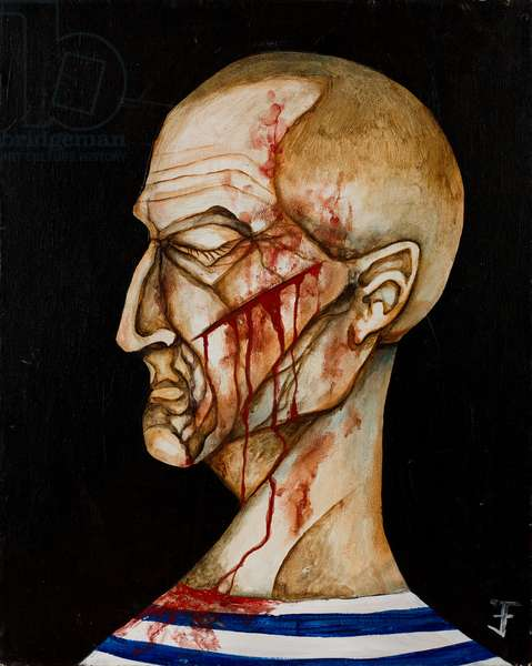 Man with Slash Wound on Face, 2006 (acrylic on canvas)