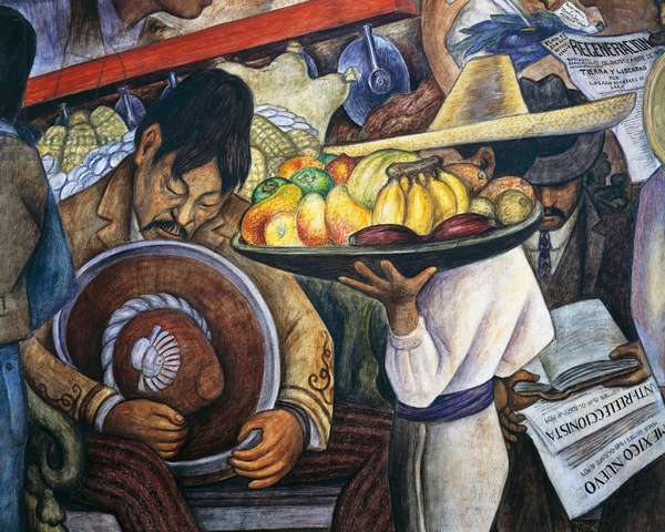 A man sleeping and a fruit vendor, detail from Dream of a Sunday afternoon at the Alameda Park, 1947, by Diego Rivera (1886-1957), from the Hotel del Prado fresco. Mexico, 20th century.