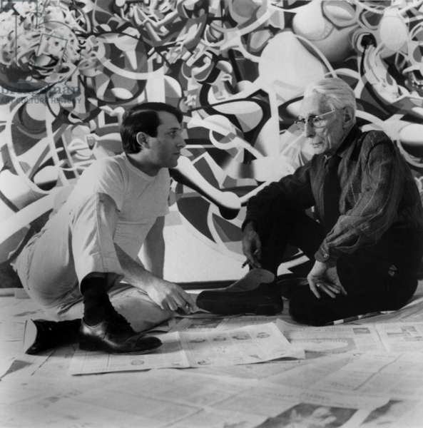 French Writer and Explorer Henri De Monfreid (R) With Raymond Moretti in Front of Painting