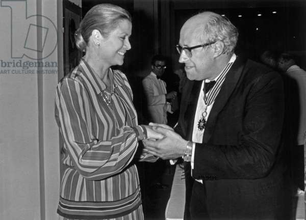 Mstislav Rostropovitch Who Has Received A Medal Is Congratulated By Princess Grace of Monaco in Menton August 10, 1974 (b/w photo)