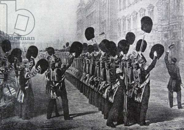 Scots Guards cheer the Queen of Great Britain, Victoria as they leave for the Crimean war 1854