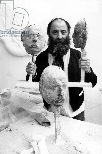 Sculptor Cesar (Cesar Baldaccini) in his Workshop March 7, 1973 (b/w photo)