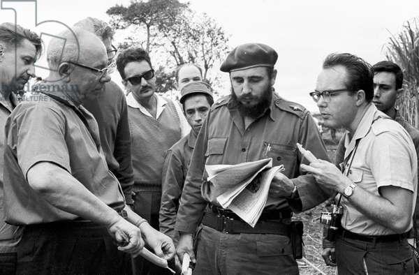 Nikolai Podgorny And Fidel Castro During A Talk In Havana