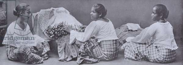 Lace Makers, Ceylon Lace is entirely hand made, and many beautiful specimens may be had (b/w photo)