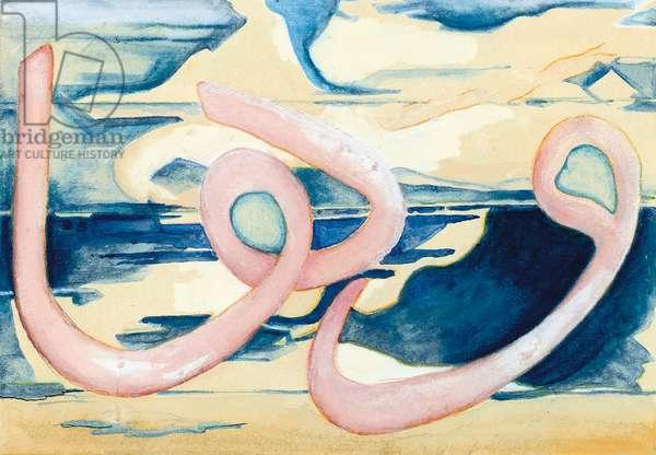Les Nuages, Triptych, 1924 (w/c, bodycolour & pastel on paper)