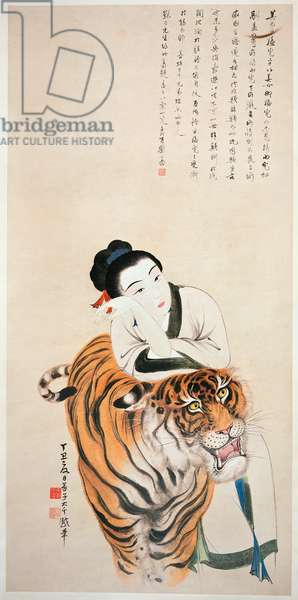 Lady Leaning on a Tiger
