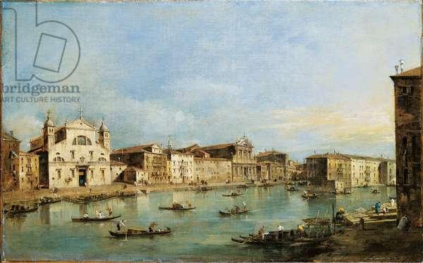 The Grand Canal with Santa Lucia and the church of the Scalzi (Il Canal Grande con S. Lucia e gli Scalzi), by Francesco Guardi, 18th Century, oil on canvas, 48 x 78 cm