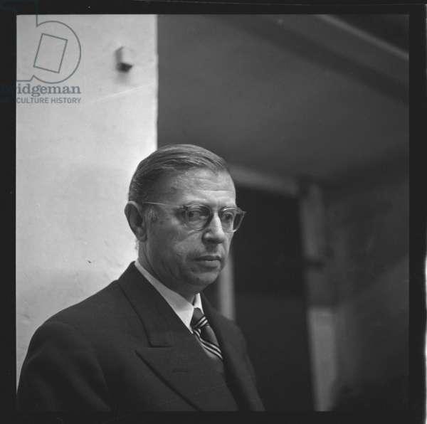 Jean Paul Sartre in Paris, c.1955 (b/w photo)