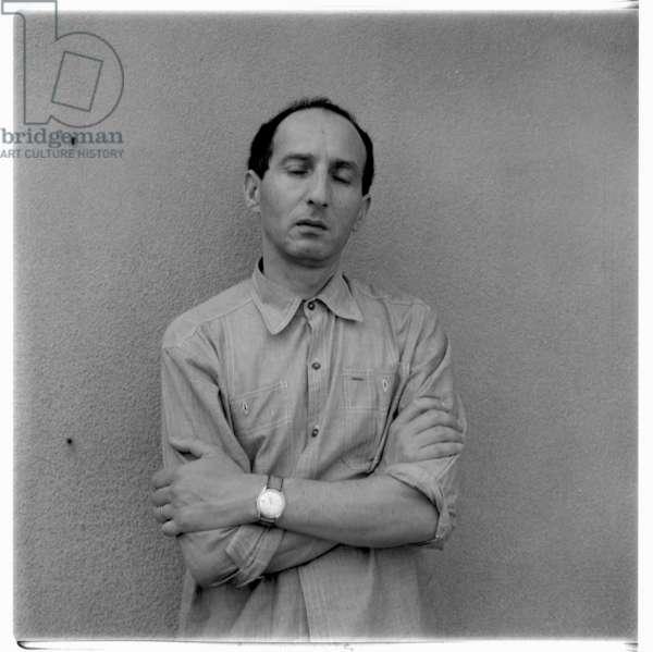 Eugenio Carmi in his studio, possibly Rome Italy, mid 1960' (b/w photo)