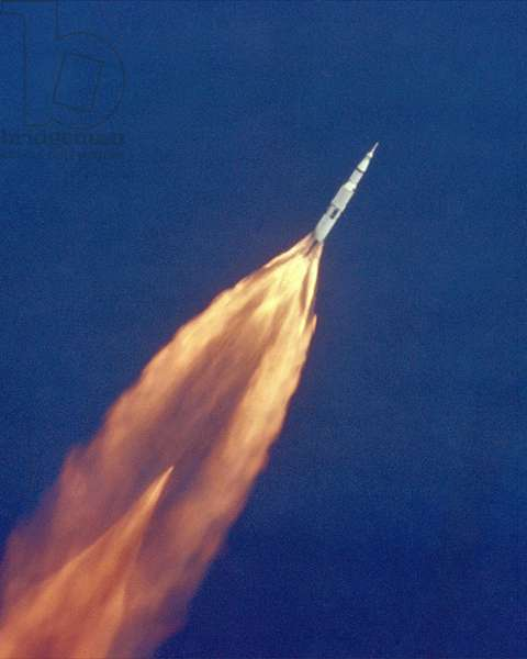 Moon launch. The Apollo 11 Saturn V space vehicle climbs toward orbit after liftoff. In two and a half minutes it was 39 miles above Earth and 55 miles from its launch site. July 16, 1969