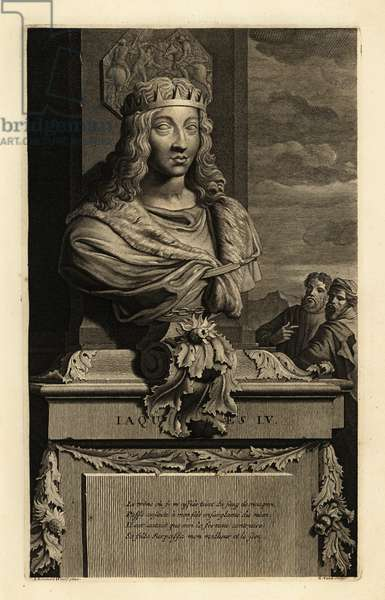 Portrait of a bust of King James IV of Scotland in crown/ Jacques IV. Copperplate engraving by Gerard Valck after Adriaen van der Werff from Histoire d'Angleterre, d'Ecosse et d'Irlande, Amsterdam, circa 1700.