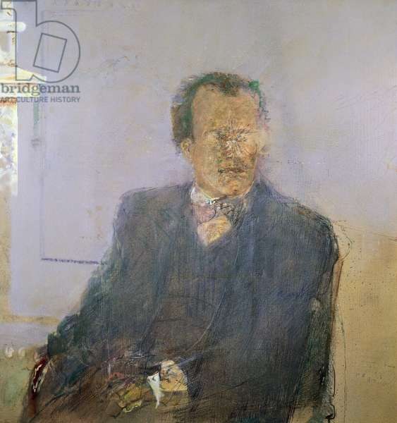 Portrait of Gustav Mahler (Kalischt, 1860-Vienna, 1911), Austrian conductor and orchestra composer of Bohemian origin, painting by Jorg Madlener (1939-). 20th century.