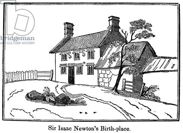 ISAAC NEWTON BIRTHPLACE Sir Isaac Newton's birthplace, Woolsthorpe House, Lincolnshire, England. Engraving, English, 1848.