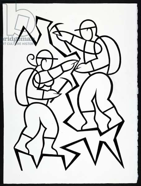 Drawing of two person doing climbing